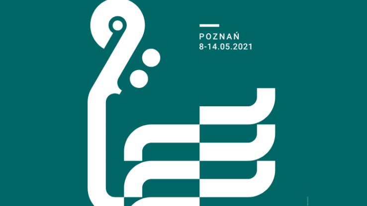White graphic presenting a fragment of a violin on a dark green background. White captions on top and on the bottom of the picture. - grafika artykułu