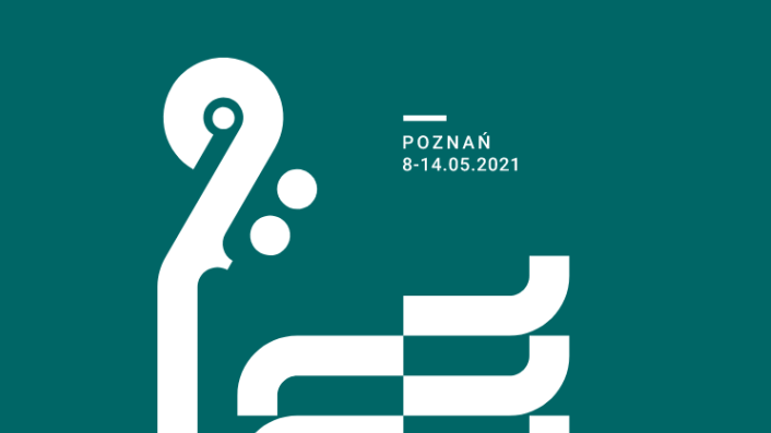 White graphic presenting a fragment of a violin on a dark green background. White captions on top and on the bottom of the picture.